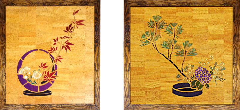 two cork leather and silk pictures of Ikebana flower arrangements