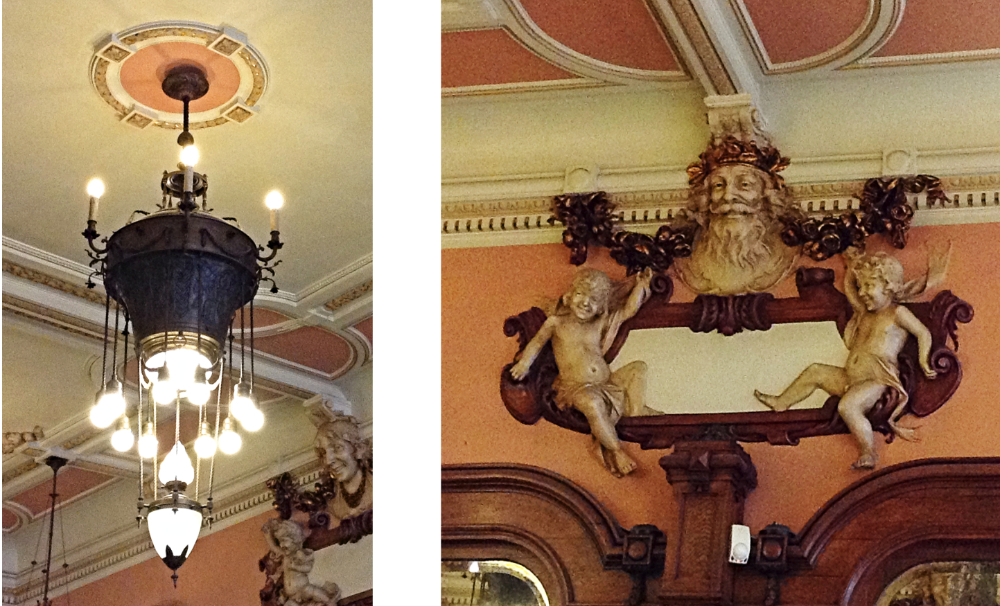 Two items from the interior of the Majestic Cafe