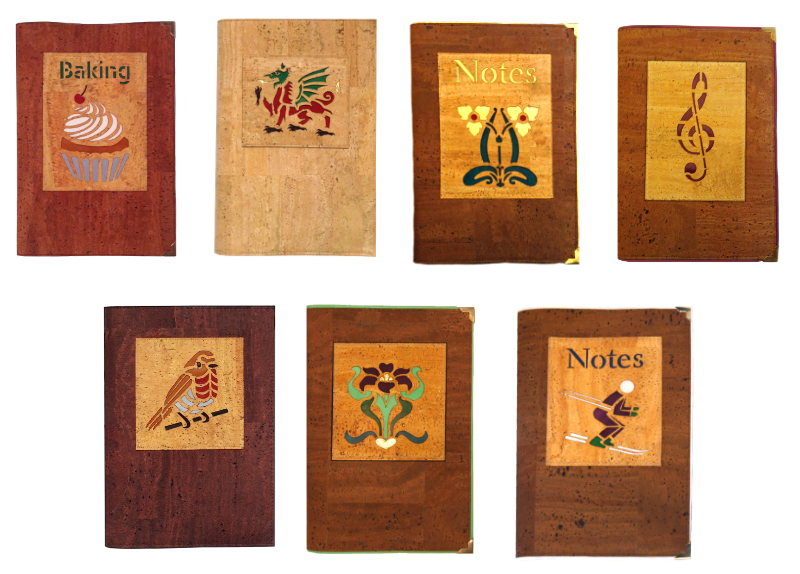 Seven notebooks in cork leather and coloured leather