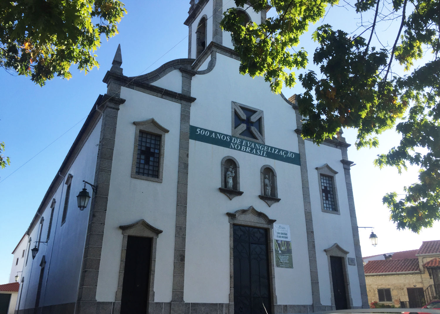 The parish church in Belmonte with its banner proclaiming 550 years of evangelisation in Brazil