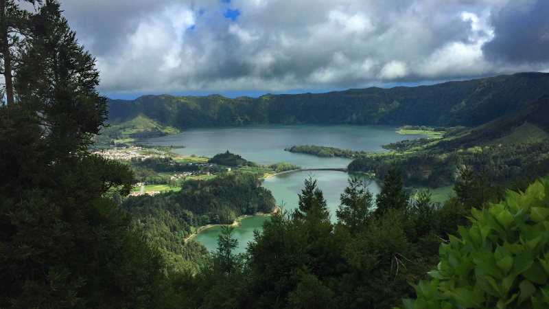 Blue and Green Lagoon in the Sete Cidades Caldera
