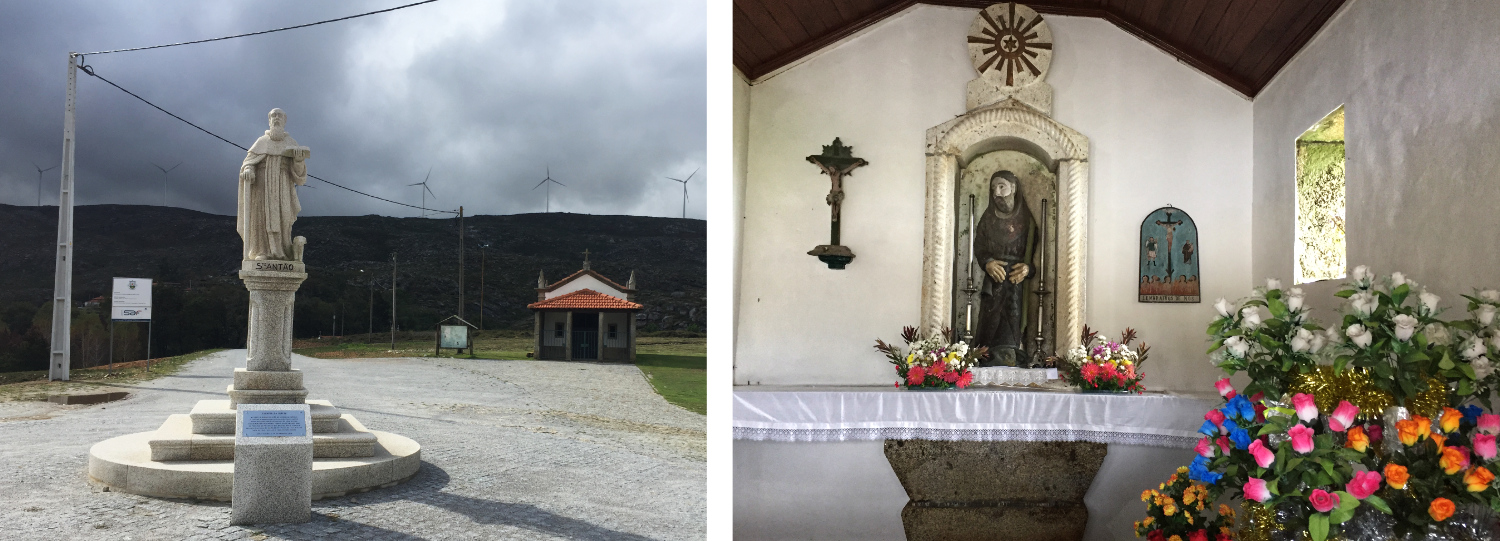 Statue of Santo Antão and a nearby chapel