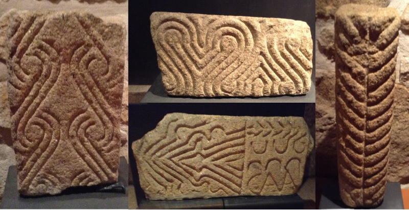 Decorative carvings from lintels in Briteiros