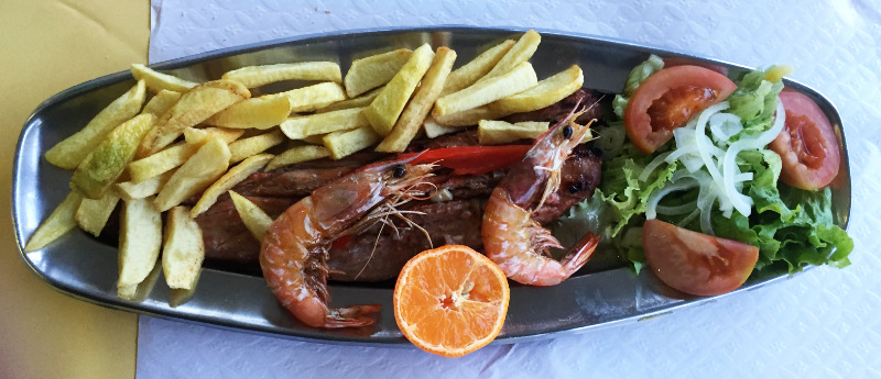 Pork, prawns, chips and salad for dinner