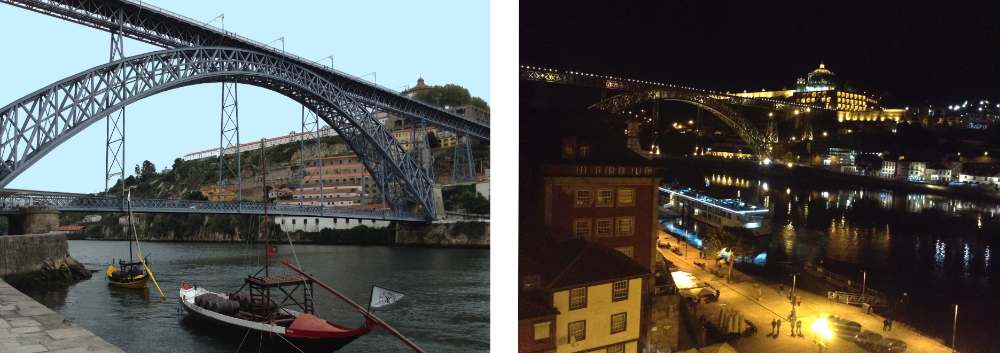 The Dom Luis Bridge bu day and by night