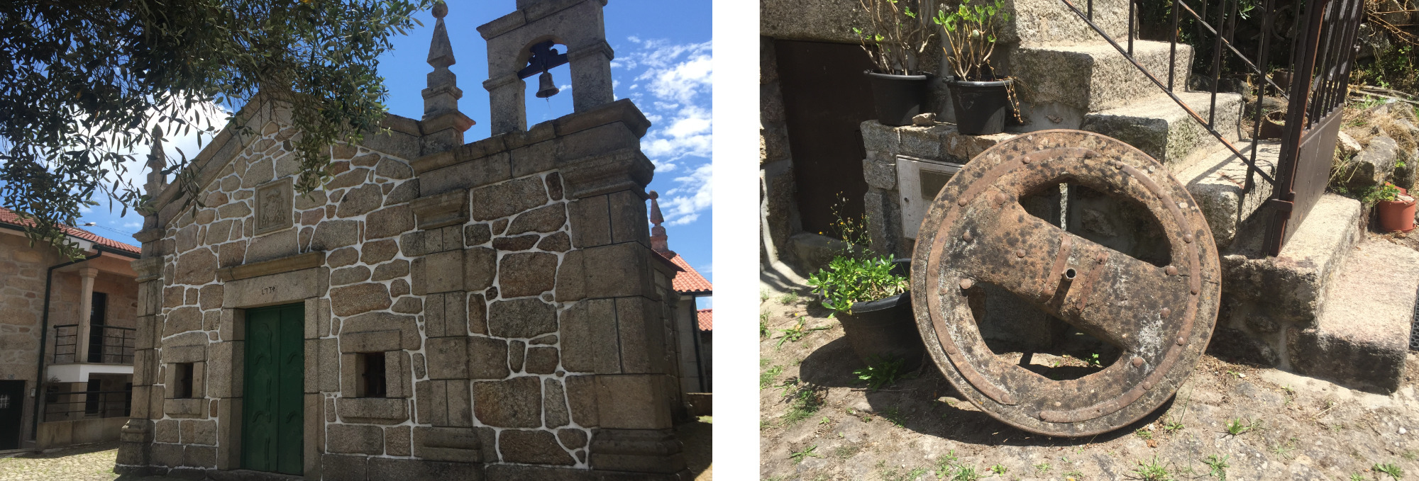 A stone chapel and a holiday home with a cart wheel in Froufe