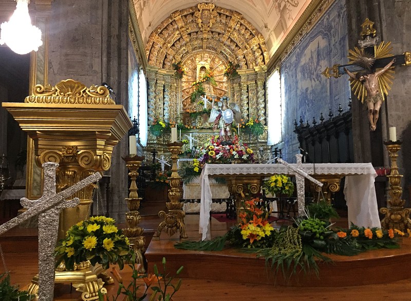 The altar and statue of the Archangel Michael