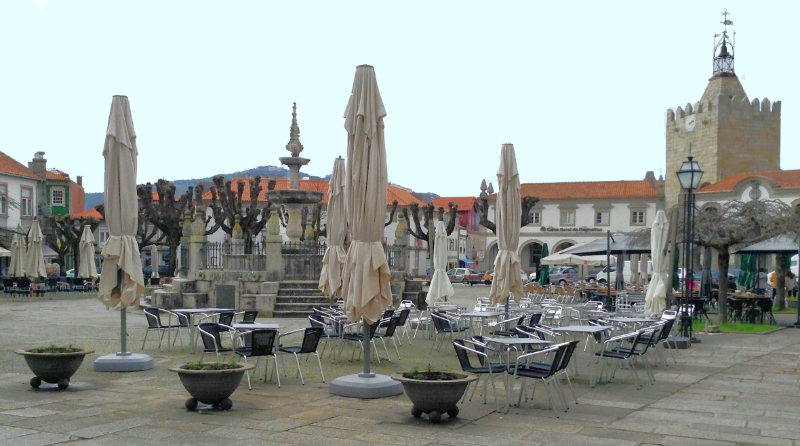 Main square in Caminha with fountain
