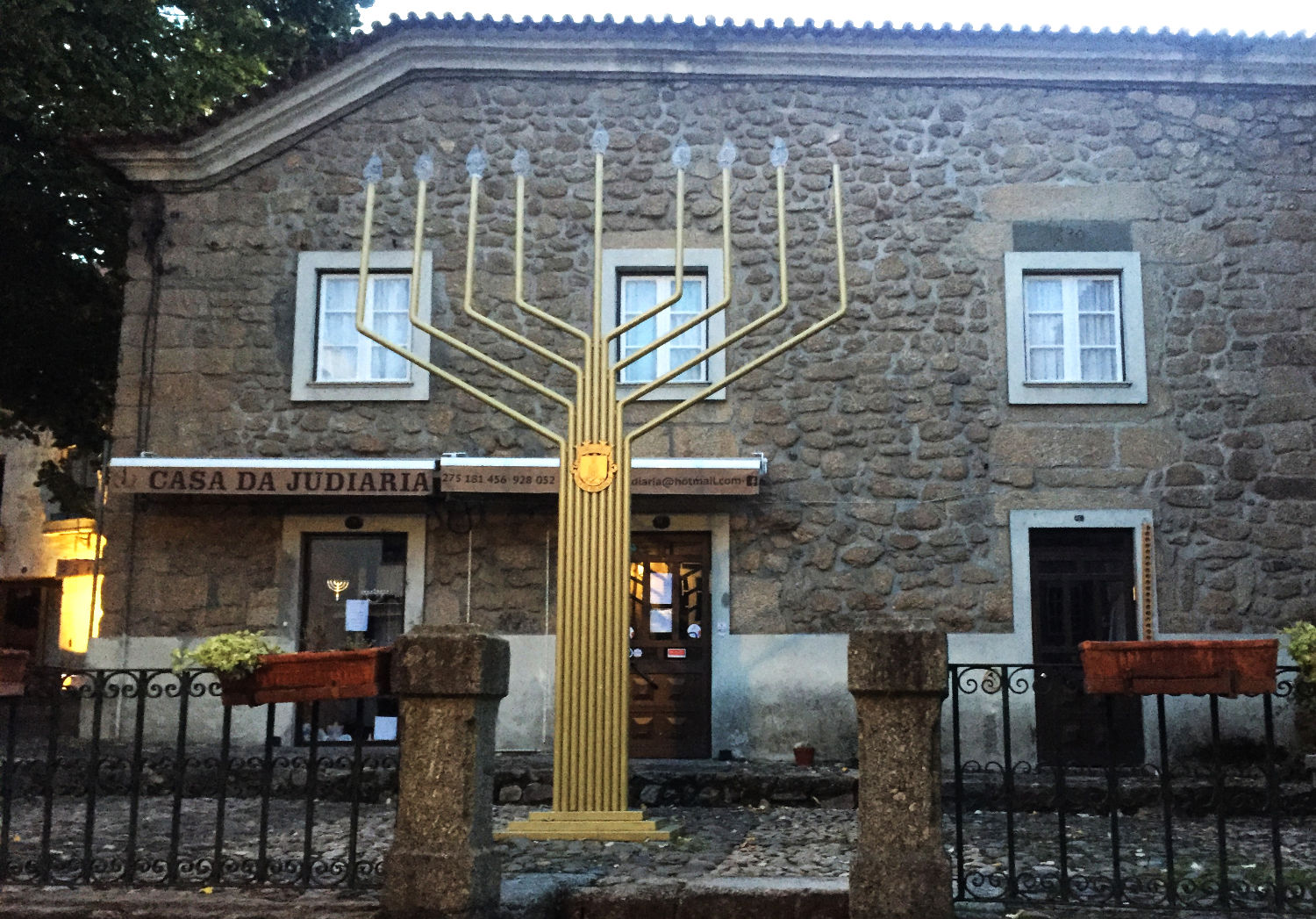 Massive menorah outside a Jewish shop