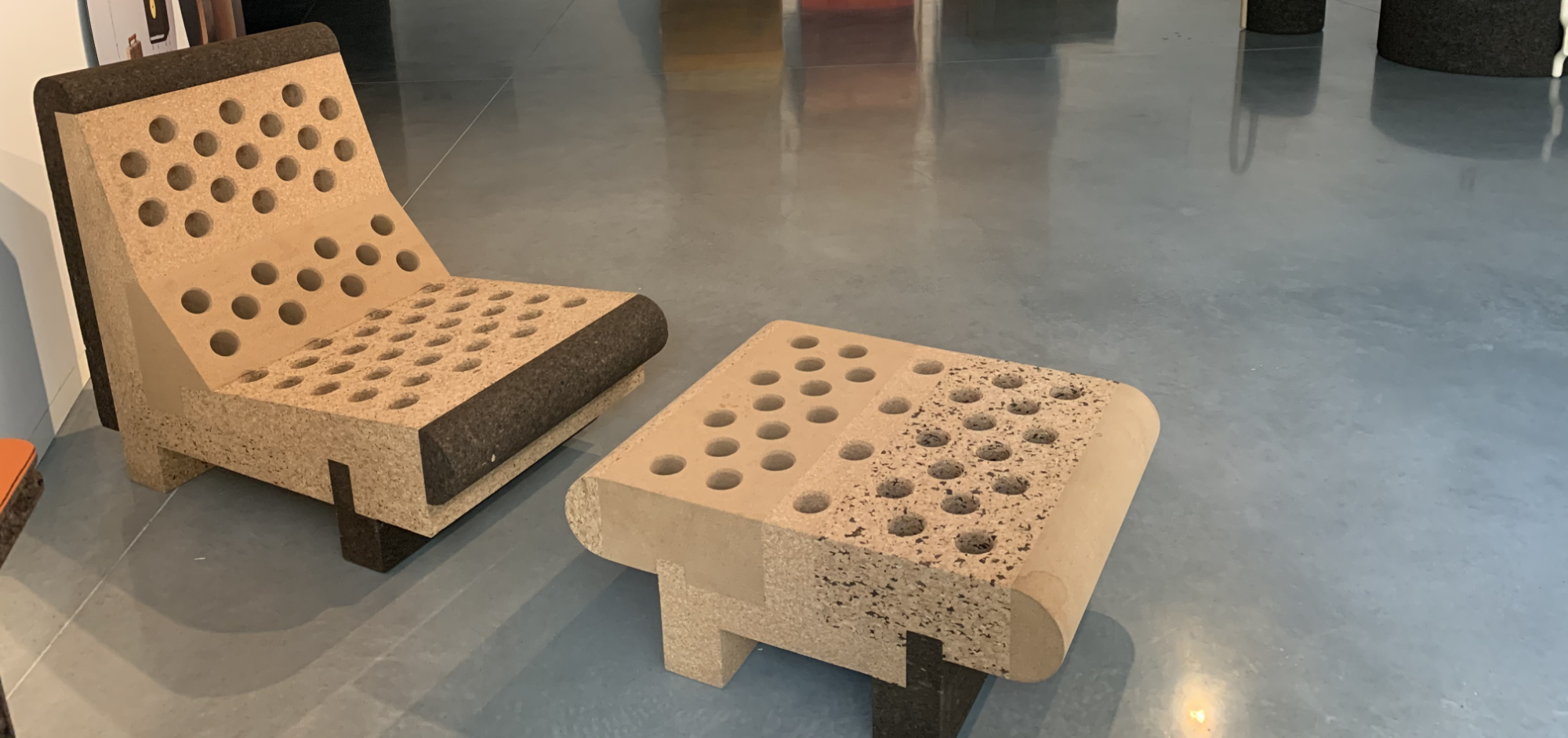 A cork poolside lounger