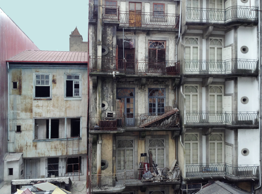 Dilapidated houses in Porto