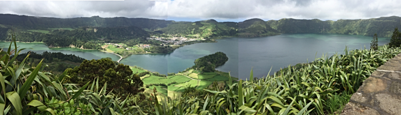 Panoramic view of Sete Cidades Blue and green lagoons