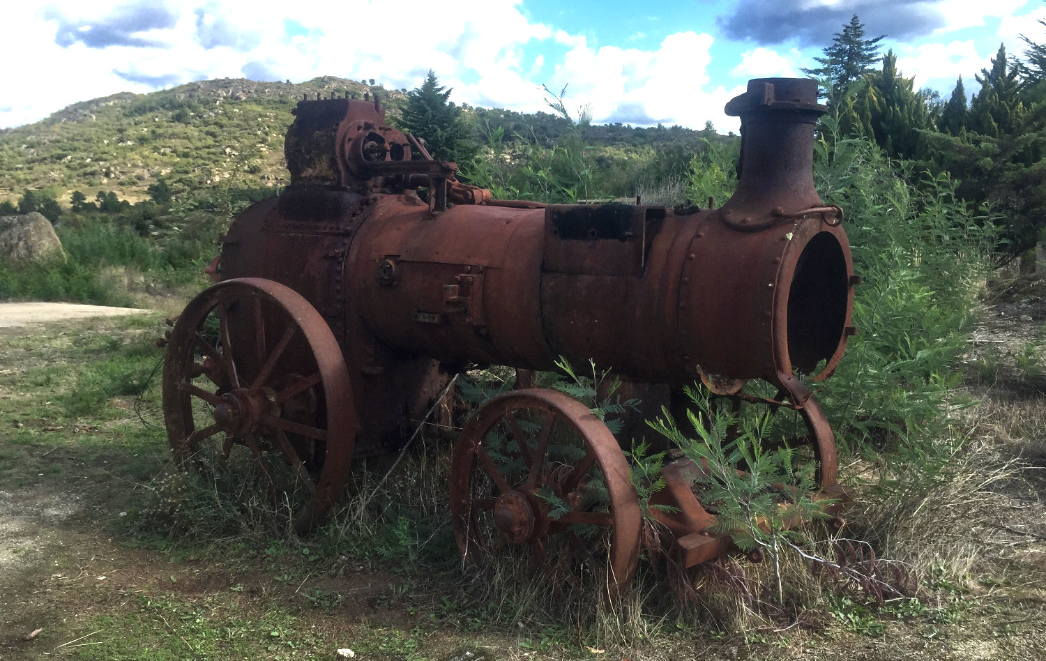 A rusting traction engine probably used to pump water