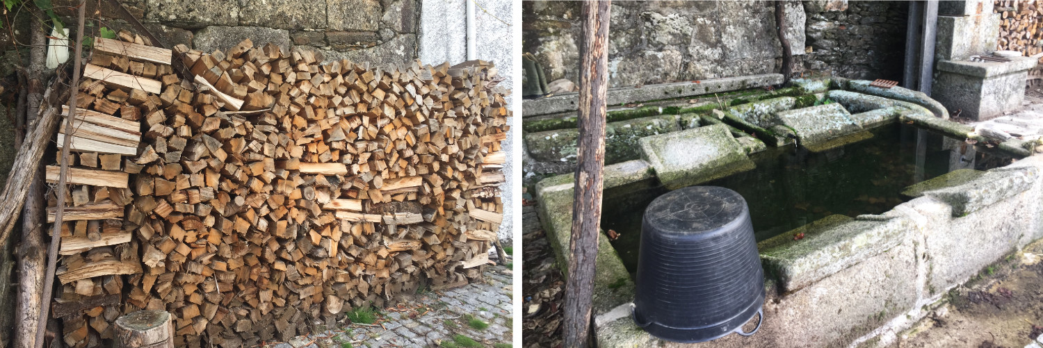Piles of logs for the fires and old fashioned washing tubs
